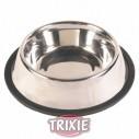 Trixie Comedero acero Inoxidable con anillo de caucho